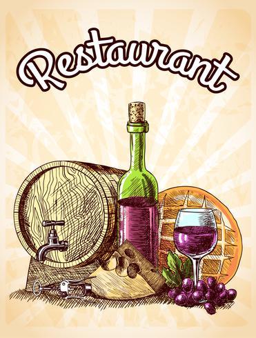 Wein Käse und Brot Poster vektor