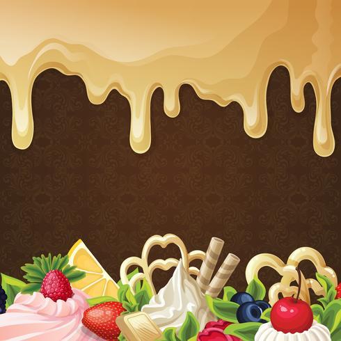 Karamell sötsaker bakgrund vektor