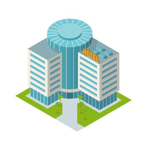 Hotellbyggnad isometrisk vektor