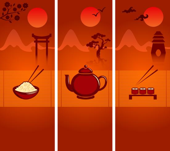 Sammlung japanischer Kulturfahnen oder Lesezeichen vektor
