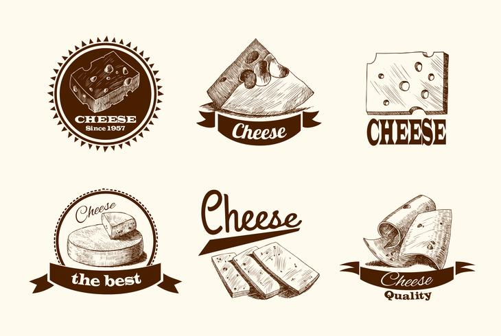 Käse-Skizze-Etiketten vektor