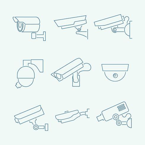 Säkerhetskameror ikoner uppsättning vektor