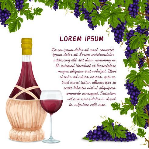 Vin burk och druvklump bakgrund vektor