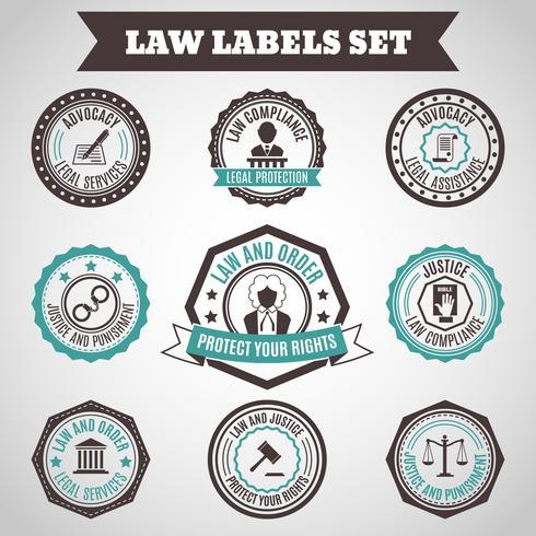 Gesetz Etiketten gesetzt vektor