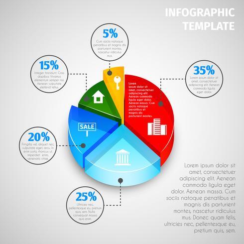 Pie chart fastigheter infographic vektor