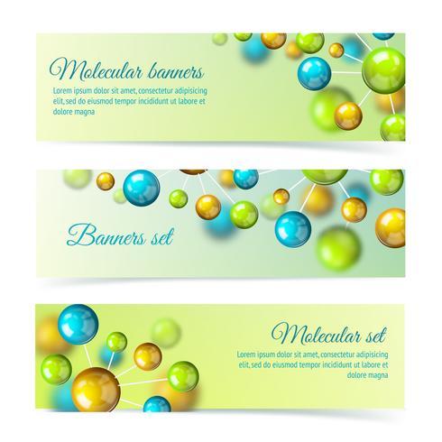 Färgade molekyl banners 3d set vektor