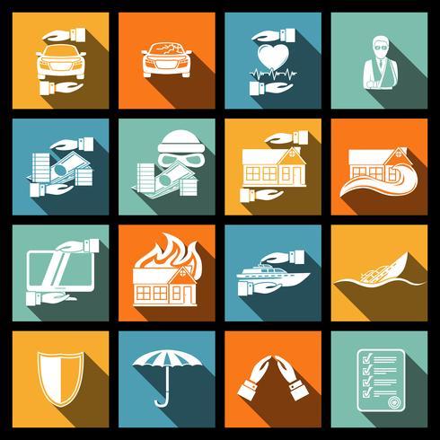 Försäkringssäkerhetsikoner inställda vektor