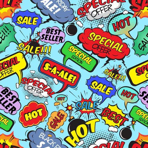 Comic bubblor sömlös försäljning vektor