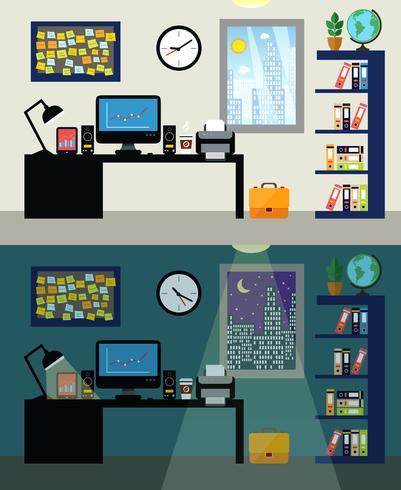 Büro Tag und Nacht vektor