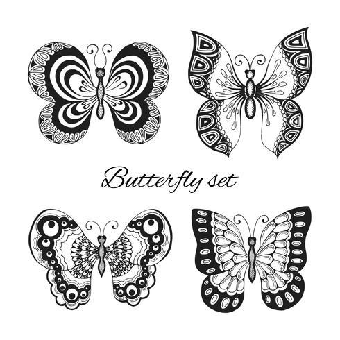 Fjärilar dekorativa ikoner uppsättning vektor