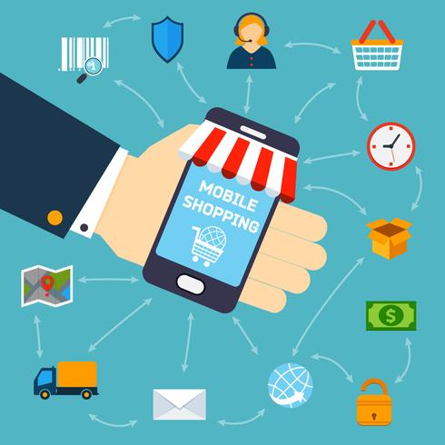 Mobil shoppingkoncept vektor