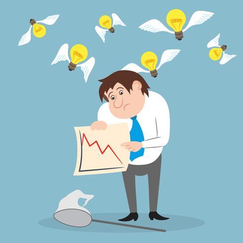 Affärsman olycklig med aktiehandel vektor