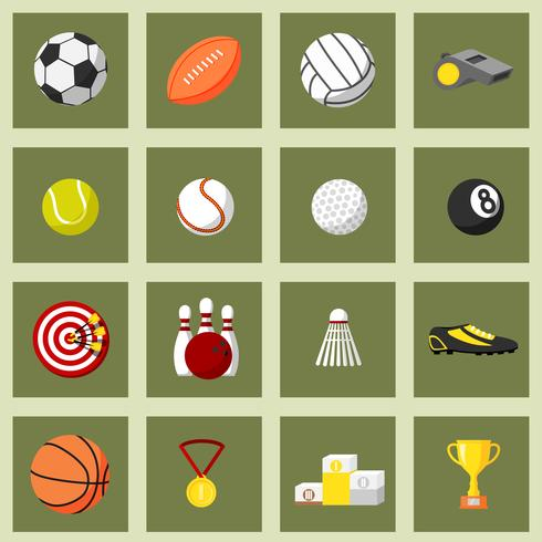Sport platt ikoner Set vektor