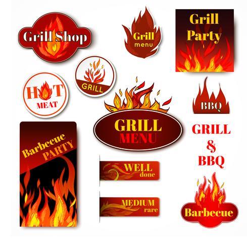 Feuer Label Grill vektor