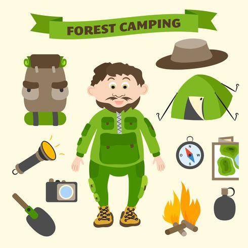 Camping och utomhusaktiviteter turism element vektor