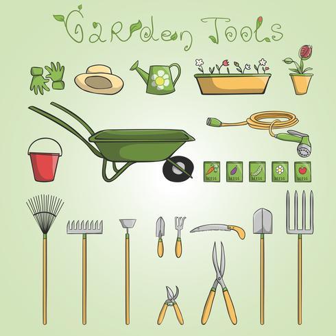 Gartenwerkzeugikonen eingestellt vektor
