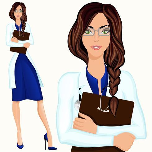 Ung kvinna läkare vektor