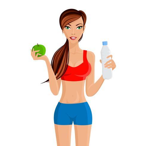 Frisk livsstil fitness tjej vektor