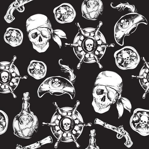 Pirates svartvitt sömlöst mönster vektor