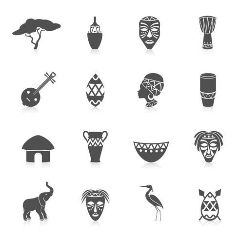 Afrika-Ikonen eingestellt vektor