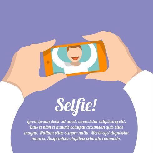 Selfie självporträttaffisch vektor