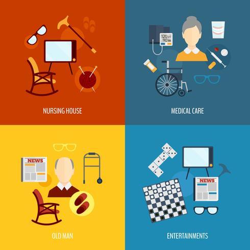 Pensionärer liv ikoner platt vektor