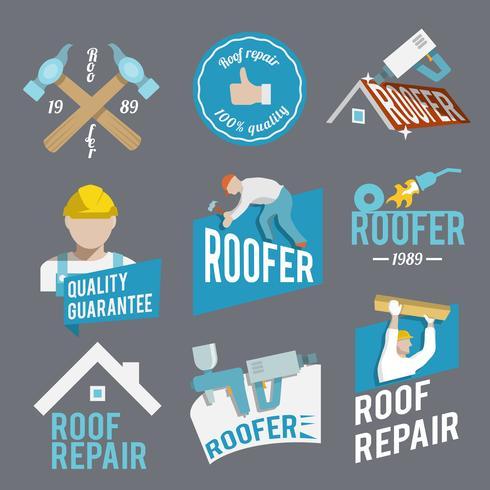 Roofer etikettuppsättning vektor