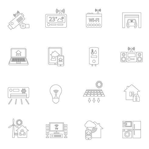 Intelligentes Zuhause Symbole umreißen vektor