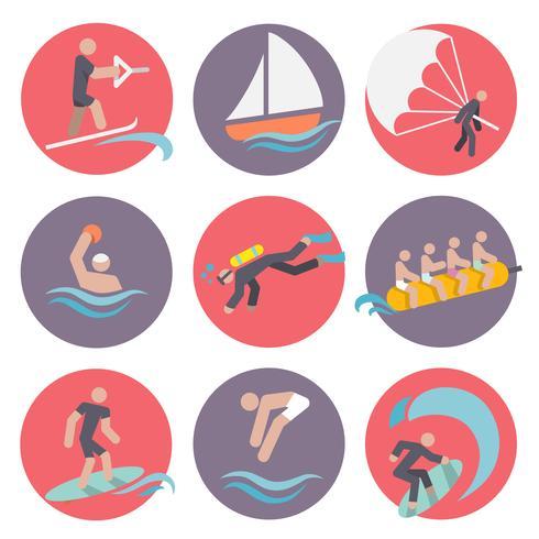 Vattensporter ikoner ställs platt vektor