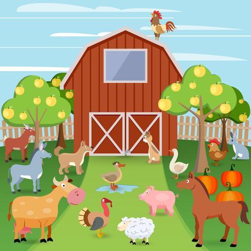Gård med djur vektor