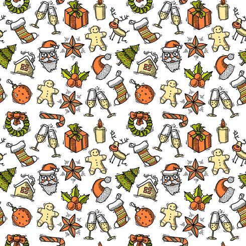 Weihnachten nahtlose Musterfarbe vektor
