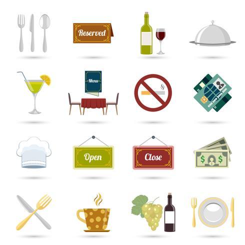 Restaurang ikoner uppsättning vektor