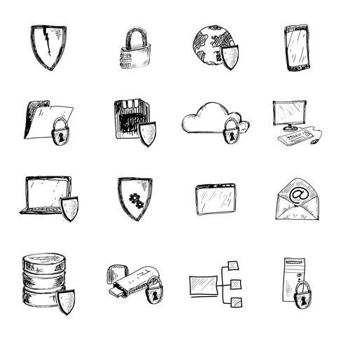 Datenschutz-Skizzensymbole vektor