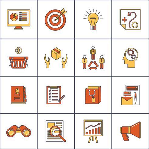 Marknadsförare platt linje ikoner uppsättning vektor