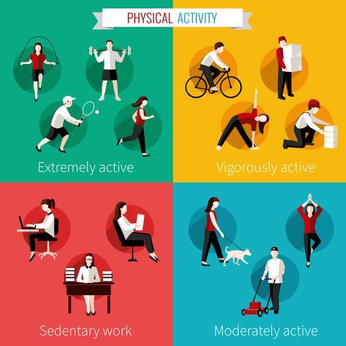 Körperliche Aktivität flach eingestellt vektor