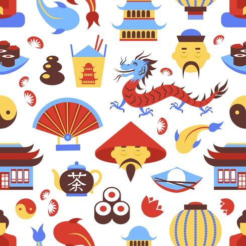 China nahtloses Muster vektor