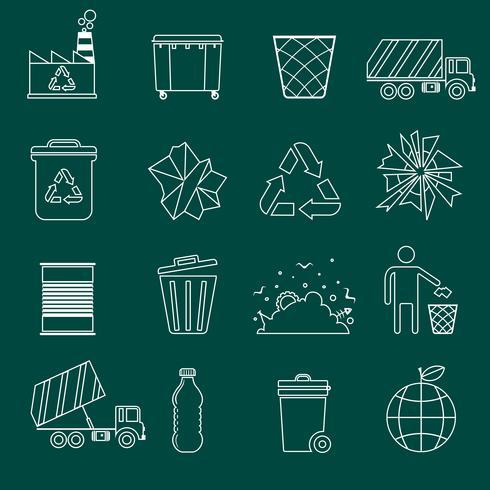 Müll Symbole umreißen vektor