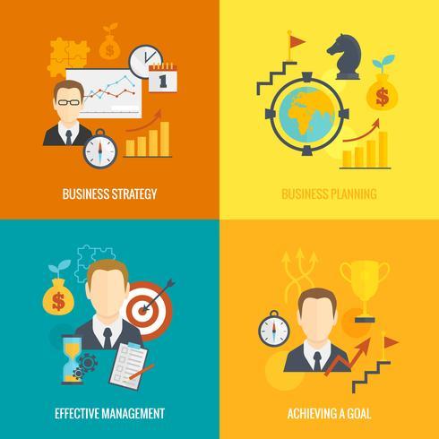 Planeringsplan för affärsstrategi platt vektor