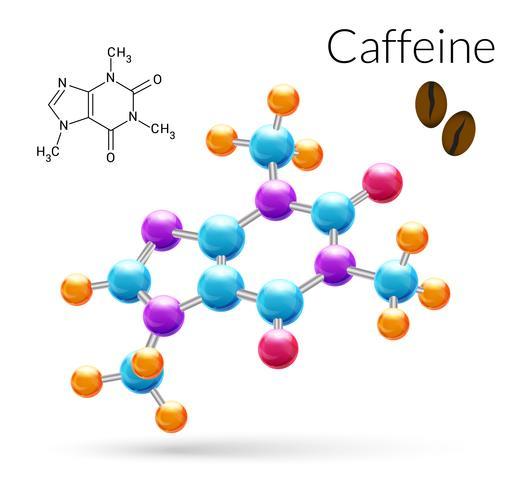 Koffeinmolekyl 3d vektor