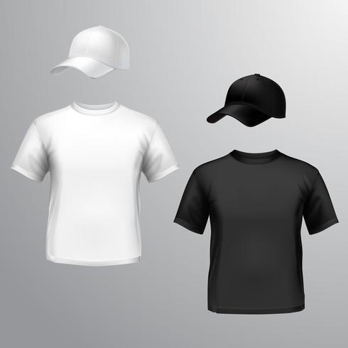 Herren T-Shirt Baseballmütze vektor