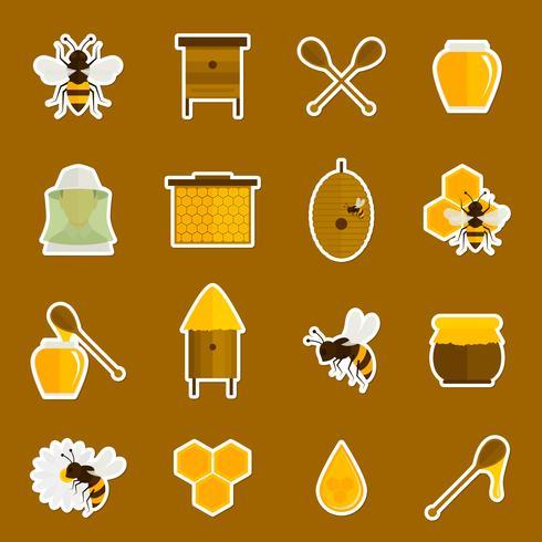 Bee honung ikoner klistermärken uppsättning vektor
