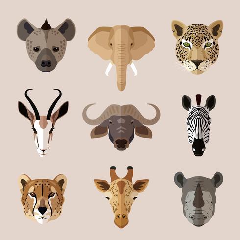 Flache Ikonenset des Tierporträts vektor