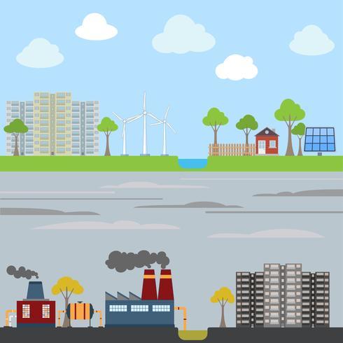 Industrie- und Öko-Stadtkonzept vektor