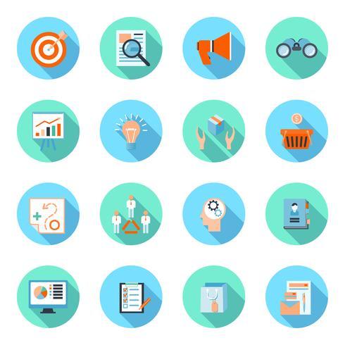 Marknadsförare platt ikoner uppsättning vektor