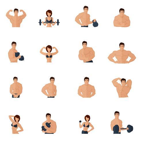 Bodybuilding-Fitness-Gym-Ikonen flach vektor
