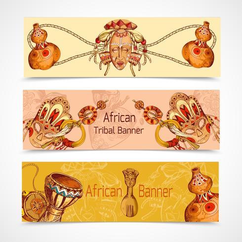 Afrika skissar färgade banners horisontellt vektor
