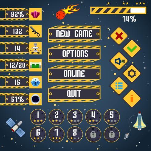 Space spelgränssnitt vektor