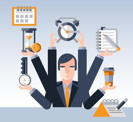 Zeitmanagement-Geschäftsmann vektor