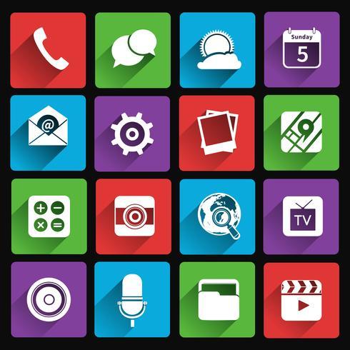 Symbole für mobile Anwendungen flach vektor