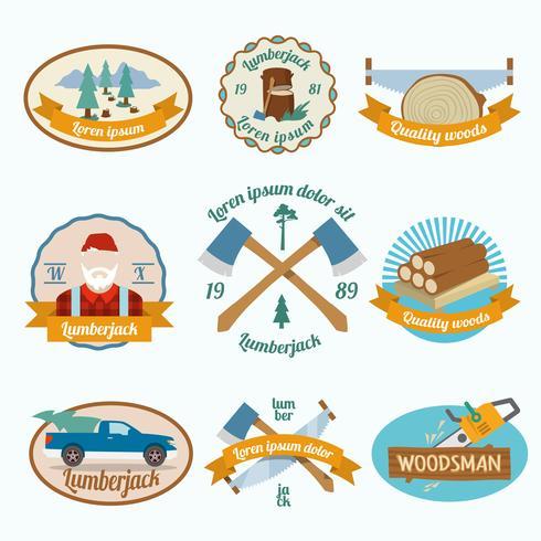 Lumberjack woodcutter etikett vektor